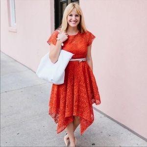 Anthropology Maeve  Prima Lace Burnt Orange Dress